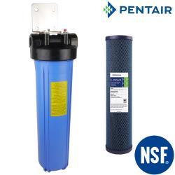 怡康 20吋大胖組單道藍色濾殼吊片組+PENTAIR 公規20吋大胖纖維活性碳濾心
