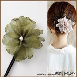 【Akiko Sakai坂井亞希子】珍珠花朵造型丸子頭盤髮造型編髮器