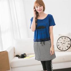 【JimmyWang】  條紋配色寶藍色洋裝M-XXL