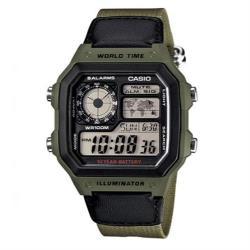 【CASIO 】十年之旅數位電子錶-綠框x綠帆布錶帶(AE-1200WHB-3B)