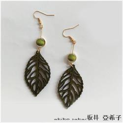 【Akiko Sakai坂井亞希子】手作質樸優雅簡約木製樹葉鏤空造型耳環(耳勾款)