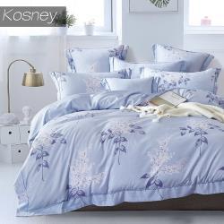 KOSNEY  夏日庭榭藍  吸濕排汗萊賽爾加大天絲床包被套組台灣製