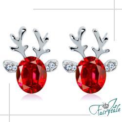 【伊飾童話】小鹿水晶*立體橢圓晶鑽耳環/2色可選
