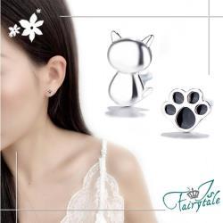 【伊飾童話】貓咪蓋手印*貼耳銅電鍍耳環