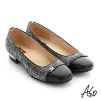 A.S.O 舒適通勤 全真皮水鑽飾釦奈米低跟鞋- 黑