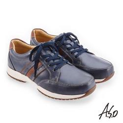 A.S.O 3D超動能 雙皮革配色休閒鞋-深藍
