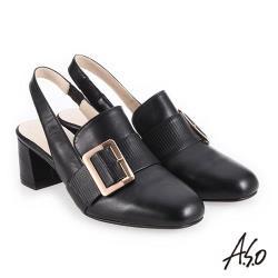 A.S.O 新式復古 經典穆勒簡約飾釦高跟鞋-黑