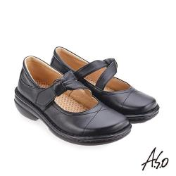 A.S.O 手縫氣墊系列 人體工學休閒鞋-黑