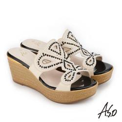 A.S.O 炫麗魅惑 黑鑽厚底奈米拖鞋- 米