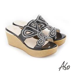 A.S.O 炫麗魅惑 黑鑽厚底奈米拖鞋- 黑