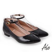 A.S.O 百變女伶 時尚亮面奈米低跟鞋- 黑