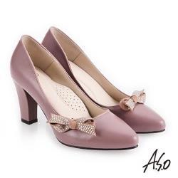 A.S.O 百變女伶 健步通勤蝴蝶裝飾高跟鞋-淺紫
