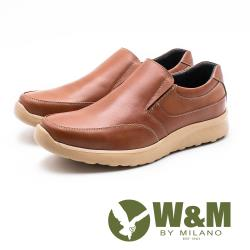W&M真皮彈性防滑休閒鞋 男鞋 - 橘棕(另有黑)