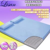 LISAN 8公分高規格厚式減壓活力床墊組-藍- 雙人加大
