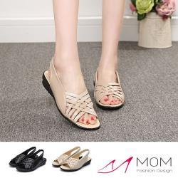 【MOM】真皮百搭交叉編織低跟羅馬涼鞋(2色任選)