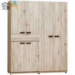 文創集 利森 時尚5.1尺六門單抽衣櫃/收納櫃組合