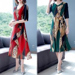 型-韓國K.W. (預購) 歐美時尚拼接袖口設計洋裝