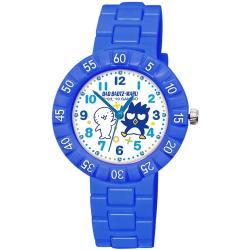 【SANRIO 三麗鷗】 數字轉圈兒童手錶 - Bad Badtz-maru 酷企鵝與花丸 34mm 藍色