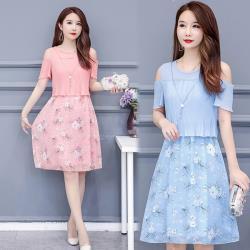 韓國K.W. (預購)韓國美型雪紡印花洋裝