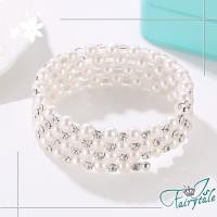【伊飾童話】珍珠纏鑽*四層環繞彈性手環