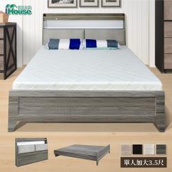 IHouse-日鄉 插座燈光床頭+簡約鄉村風床底 二件組-單大3.5尺
