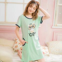 lingling日系 插畫貓咪口袋短袖連身式睡衣(全尺碼)