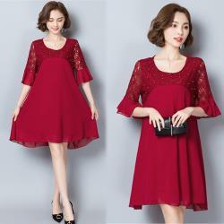 韓國K.W. 飄逸裙襬完全特色肩拼洋裝