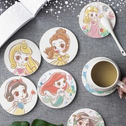 【網狐家居】迪士尼公主童話風珪藻土吸水杯墊(2入/組)