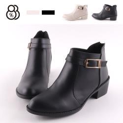 【88%】靴子-MIT台灣製 簡約皮質鞋面 跟高4.5cm 粗跟後拉鍊 踝靴 短靴