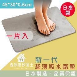 森呼吸矽藻土-新一代超薄吸水踏墊日本製-礦灰精緻版_1片入 45x30x0.6cm