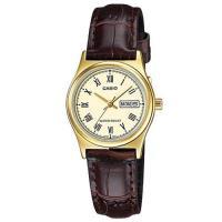 【CASIO】經典金英倫復古指針皮帶女錶-羅馬金面(LTP-V006GL-9B)