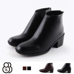 【88%】靴子-MIT台灣製 跟高6cm 皮質鞋面 簡約質感 後拉鍊純色短靴