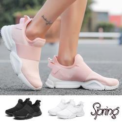【SPRING】純色飛織彈力一字織帶造型個性百搭休閒鞋 (4色任選)