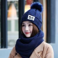 Acorn*橡果-韓系甜美護耳加絨毛帽+圍巾1820(兩件組-藍色)