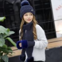 Acorn*橡果-韓系針織保暖加厚毛帽+圍巾+手套1802(三件組-藍色)