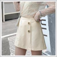短裙 口袋質感側拉鏈A字短裙PS9126-創翊韓都現貨