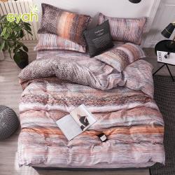 eyah宜雅 100%時尚天使絨雙人床包枕套3件組-多款任選