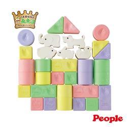 日本People-彩色米的動物積木組合(0個月-)(日本製)