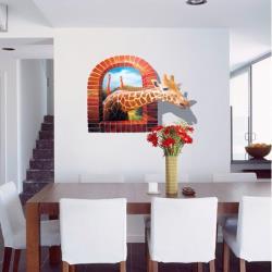 【半島良品】DIY無痕創意牆貼/壁貼-3D長頸鹿 AY9256大