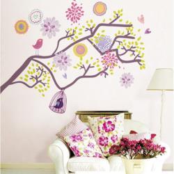 【半島良品】DIY無痕創意牆貼/壁貼-多彩鳥籠樹 AY993大
