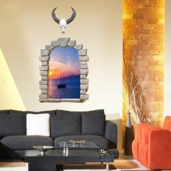 【半島良品】DIY無痕創意牆貼/壁貼-假窗海邊日出 SK9063B大