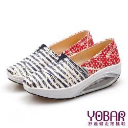 【YOBAR】歐美流行條紋星星款透氣帆布懶人休閒搖搖鞋 健走鞋 藍
