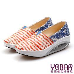 【YOBAR】歐美流行條紋星星款透氣帆布懶人休閒搖搖鞋 健走鞋 紅