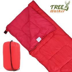 TreeWalker 可拼接式保暖信封睡袋(菱紋表布)-紅