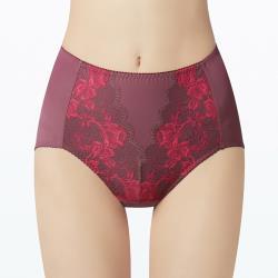【曼黛瑪璉】雙弧 高腰三角無痕修飾內褲(瑰紅紫)