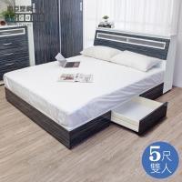 Birdie南亞塑鋼-5尺雙人二抽屜塑鋼床組(床頭箱+抽屜床底)(鐵刀木色)