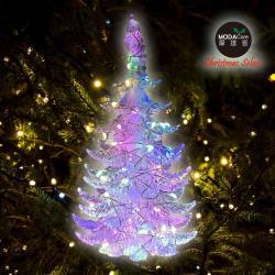 摩達客 晶透迷你壓克力聖誕樹塔+50燈LED銅線燈電池燈(四彩光)