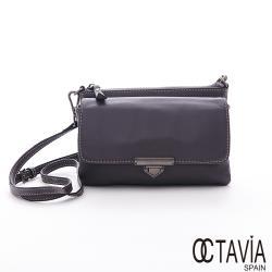 OCTAVIA 8 真皮 - 手感  全羊皮雙層口袋肩斜二用小包 - 晨霧灰