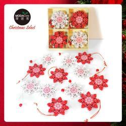 摩達客 木質彩繪聖誕吊飾(紅白雪花系)-24入(12入*2盒裝)
