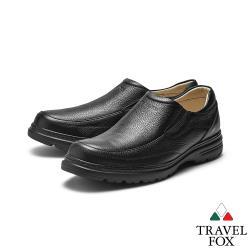 TRAVEL FOX(男)齡男子 牛皮輕量大底直套式都會舒適休閒鞋 - 好走黑